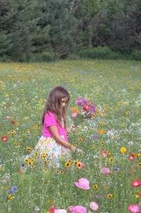 Young Girl in Flower Meadow
