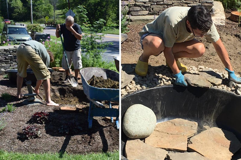 building the water feature in the Memorial Garden