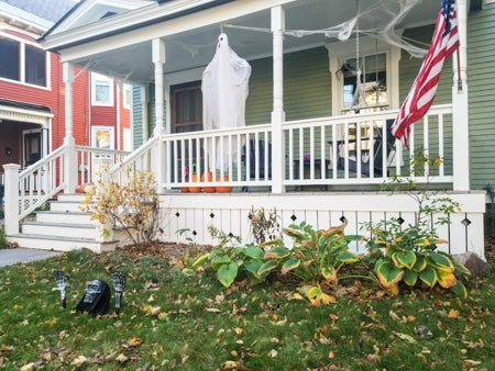 halloween decorations at the front entrance