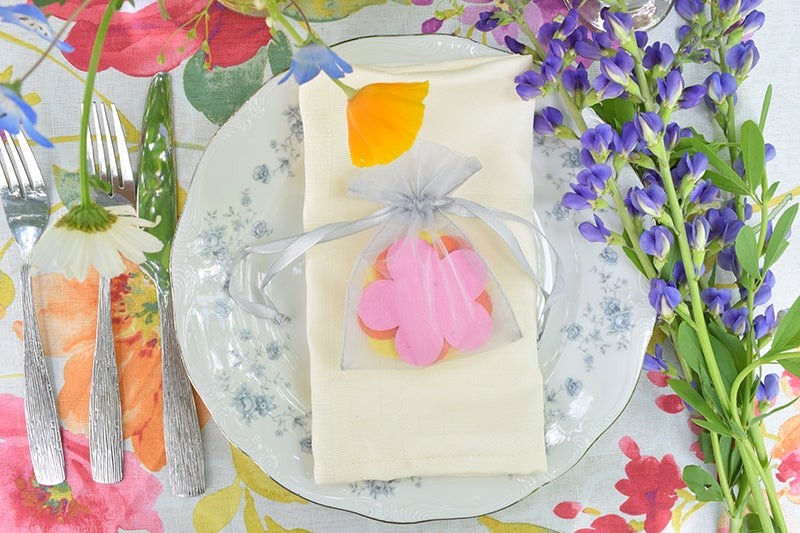 DIY Flower Wedding Favors - Seed Paper in Organza Bags