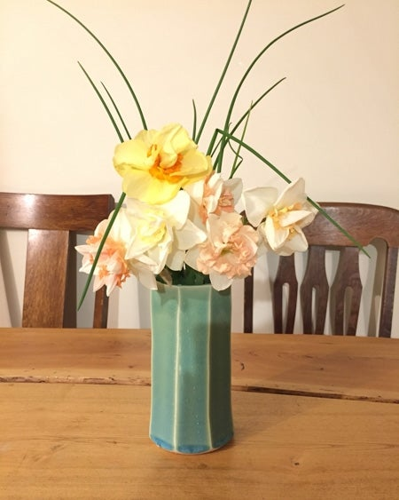 large-cupped daffodils in vase
