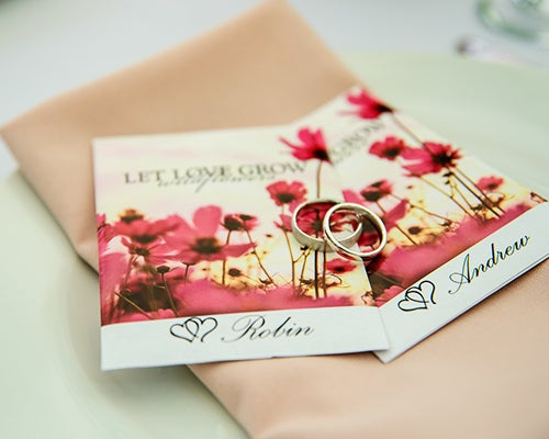 The Let Love Grow Seed Packet has a romantic style, shown here at an American Meadows employee's wedding!