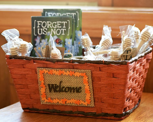 Forget Us Not Seed Packets paired with local honey and honey combs are the perfect wedding favors at an American Meadows employee's fall wedding!