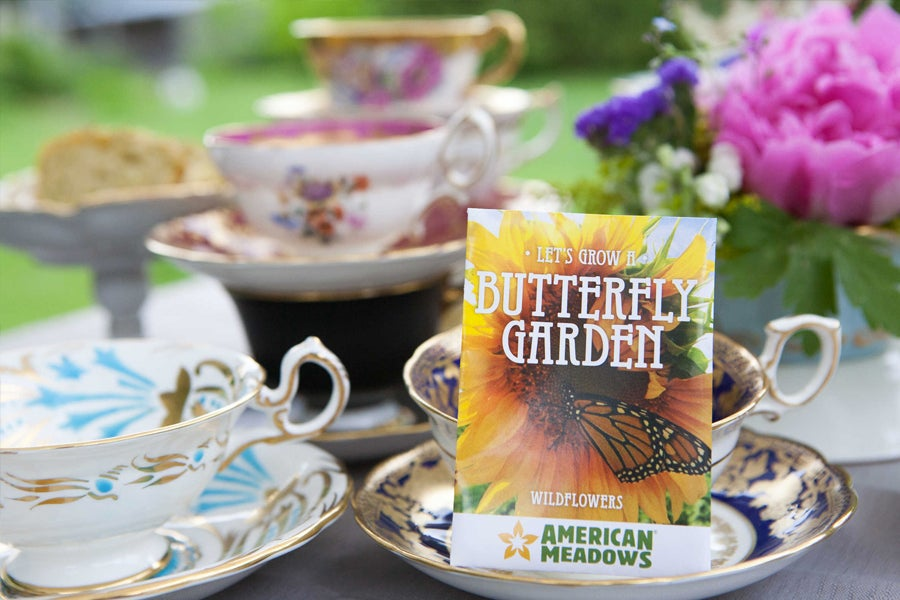 Butterfly Garden Seed Packet with Tea Cup