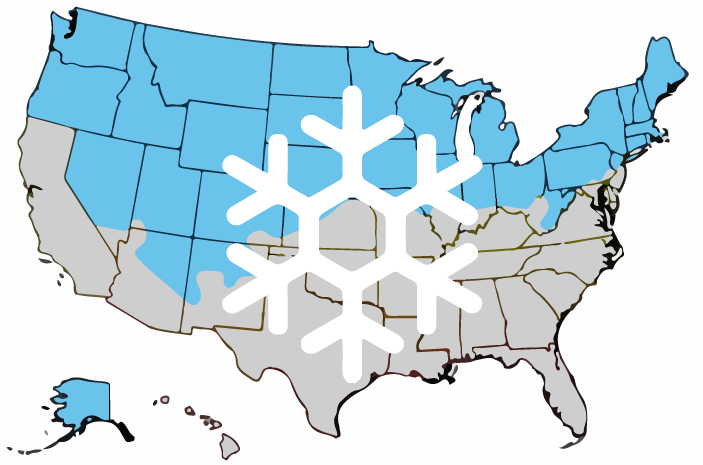 map of the united states with areas marked that experience cold winters