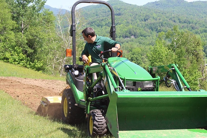 planting a slope - tractor