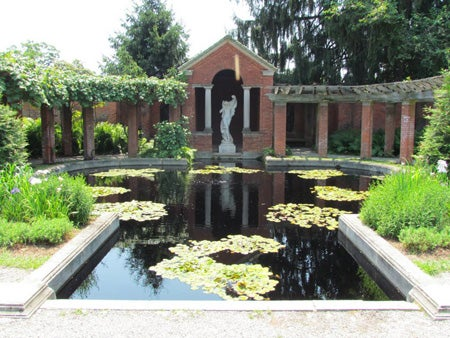 formal garden with reflecting pool