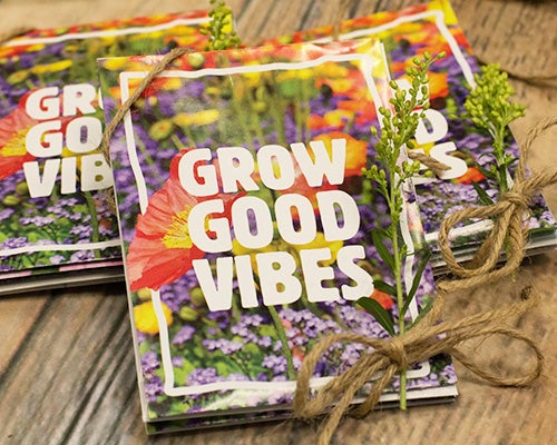 Our Grow Good Vibes seed packet will bring a fun and cheerful message to wedding guests! Perfect for rustic, casual, environmentally friendly weddings and events.