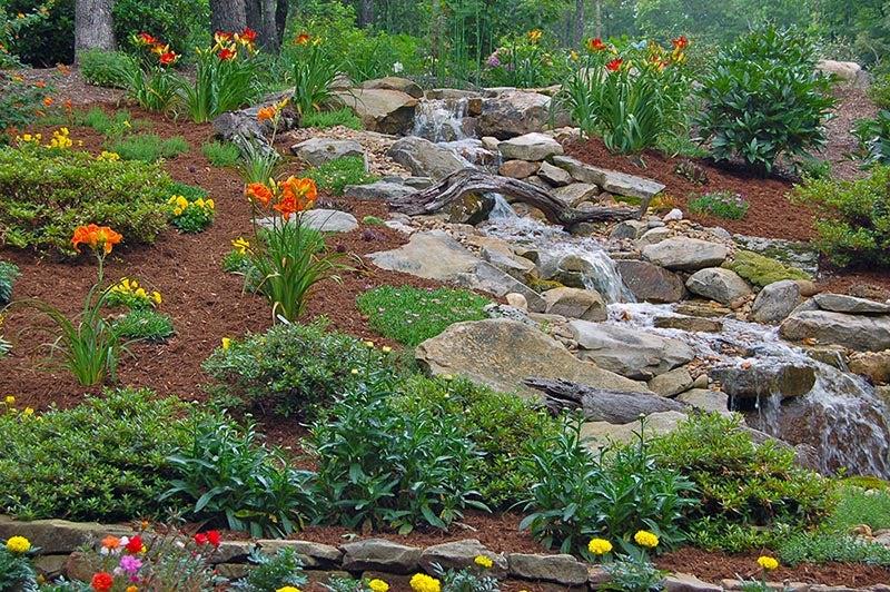 hillside garden next to stream