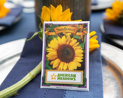 Add everyone's favorite cheerful wildflower to your wedding decor with Sunflower Seed Packets.
