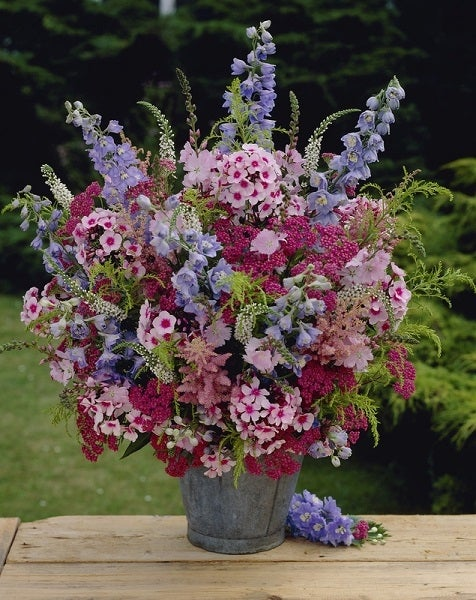 summer bouquet with delphinium and phlox